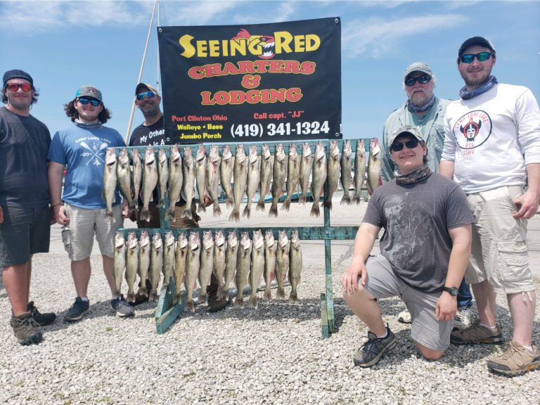 4 young men with their walleye from Lake Erie May 2020