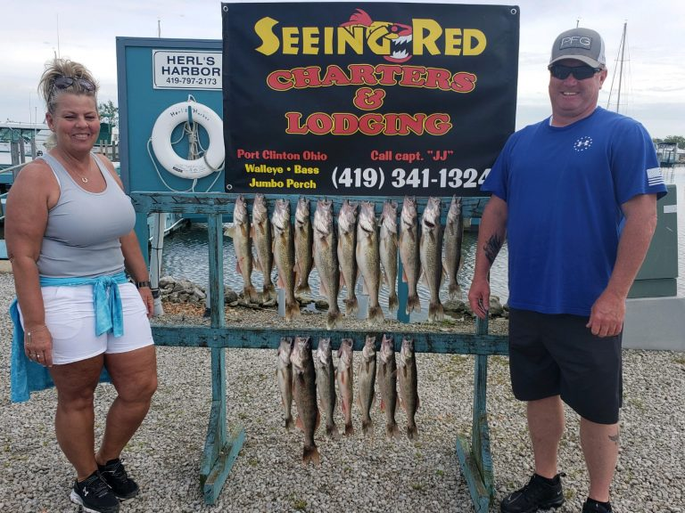 Proud Man and Woman with their Walleye in June 2020