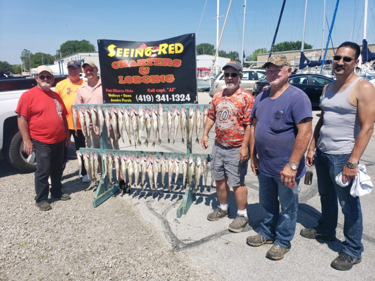 June 20, 2020 Walleye Charter with 6 men showing off their Walleye Catch