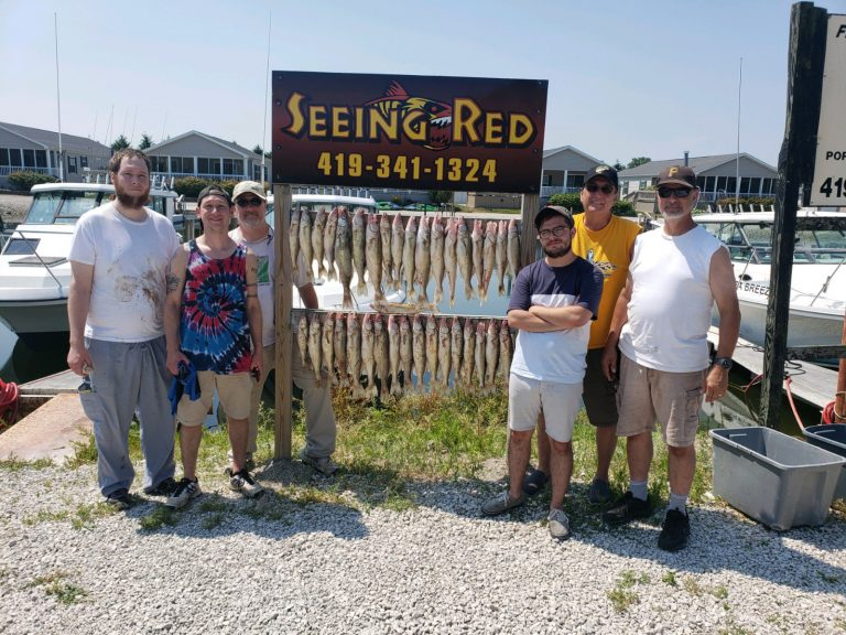 Seeing Red Charter of 6 walleye catch July 7, 2020